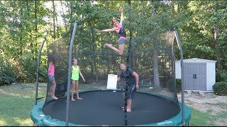 10 and 11 Year Old Gymnastics Tricks and Tumbling on the Trampoline | Acroanna