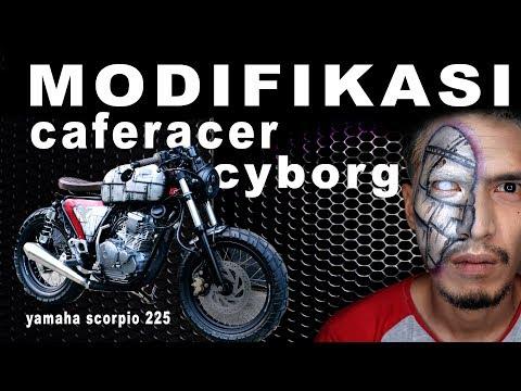 """modifikasi yamaha scorpio menjadi caferacer style bertemakan """"cyborg"""" maaf dalam video ini saya tidak merecord sesi test ride, (test ride dilakukan tanpa di ..."""