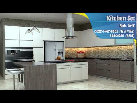 Harga kitchen set minimalis di bekasi youtube for Harga kitchen set olympic