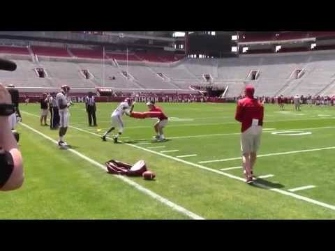 Alabama WR drills inside Bryant Denny Stadium