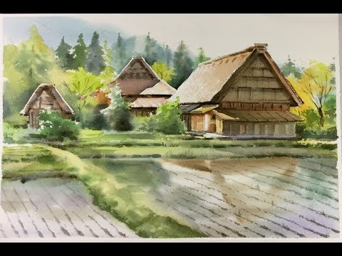 Watercolor Landscape painting : Cottages at Shirakawa village, Japan