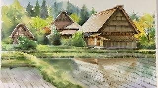 Watercolor Landscape painting : Cottages at Shirakawa village, Japan