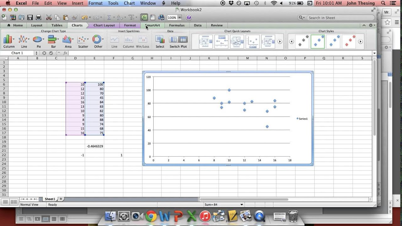 How To Use Microsoft Excel Or Google Spreadsheets To Find The Correlation  Coefficient