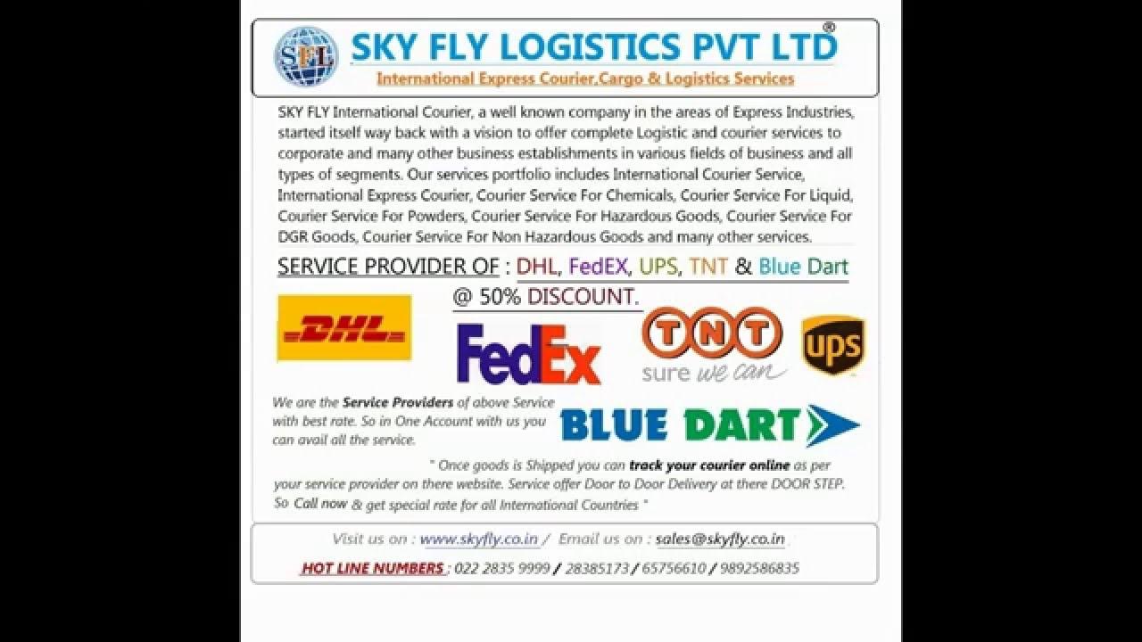 International Courier Service Dhl,FedEx, UPS, TNT & Bluedart @50% Discount