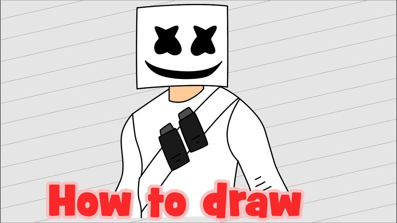How to draw fortnite characters marshmello