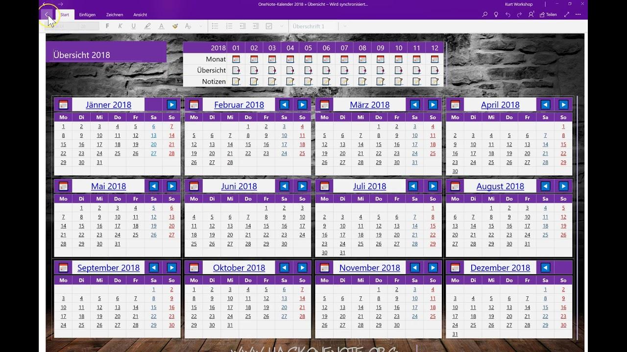 OneNote Kalender 2018 - Verwendung in der App - YouTube