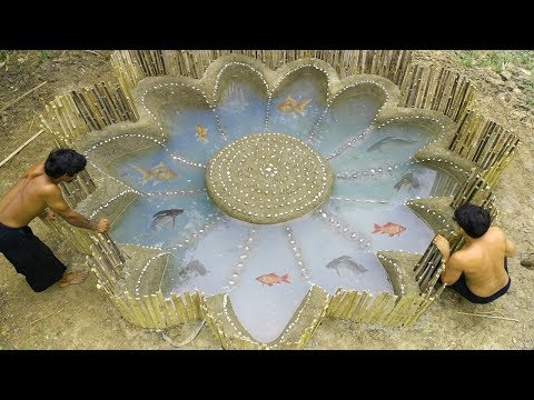 Build Stone Flower Fish Pond