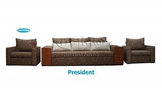 Комплект мягкой мебели Prezident 2, ортопедический диван-кровать + раскладные кресла(В комплект мягкой мебели