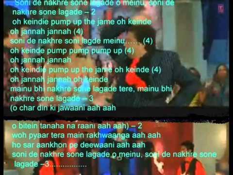 Soni De Nakhre Sone lagde ( Partner  ) Free karaoke with lyrics by Hawwa -
