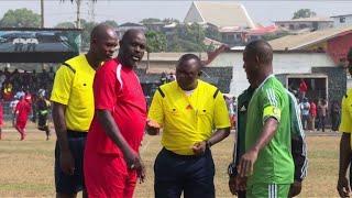 Liberia's president-elect plays football friendly
