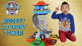 BIGGEST Paw Patrol Lookout Tower! Toy Unboxing With Chase Marshall Skye Rocky Rubble Zuma Ckn Toys thumbnail