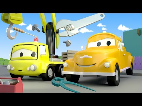 Tom The Tow Truck and Charlie the crane in Car City | Cars & Truck construction cartoon for children