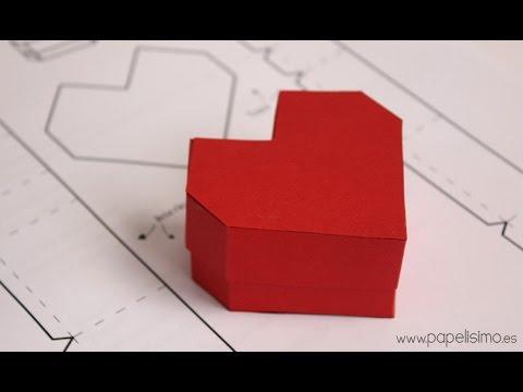 832af85a277c Caja con forma de corazón. Manualidades de papel San Valentín