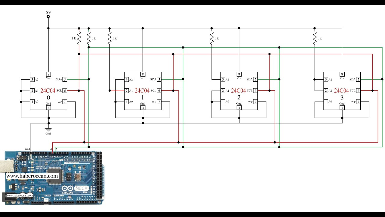 k k circuit to control four c ics through single 4k 4 16k circuit to control four 24c04 ics through single bus system using arduino mega
