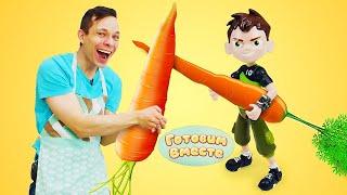 Бен 10 и Федор куриный салат Морковь для супергероев Простые рецепты салатов Готовим вместе