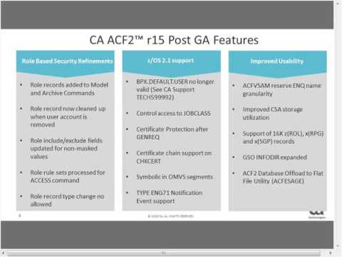 What's new in CA ACF2 R16