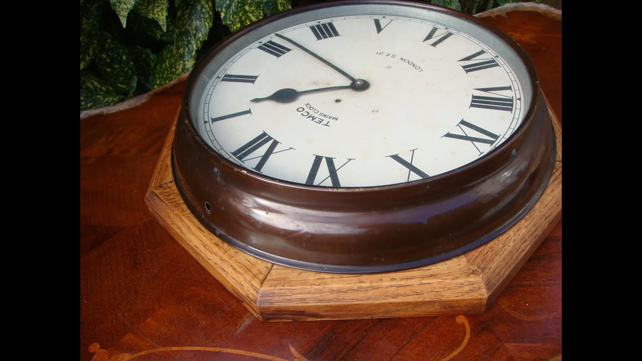 Antique old electric temco wall clock made in england require antique old electric temco wall clock made in england require power lead see video amipublicfo Images