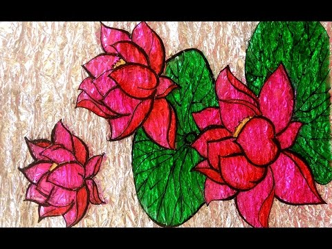 GLASS PAINTING LOTUS