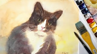 Watercolor Painting of a Black Cat