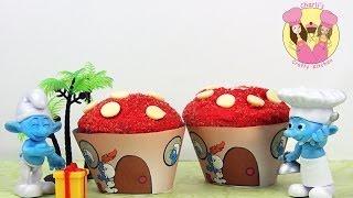 MAKE SMURF CUPCAKES!  Make easy smurfs house cupcakes using our free printables!