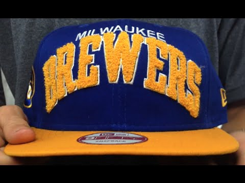 608ab9ae7238d Brewers COOP  CHENILLE-ARCH SNAPBACK  Royal-Gold Hat by New Era ...