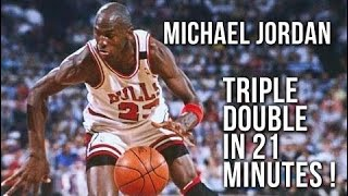 michael jordan triple double in 21 minutes march 13 1989