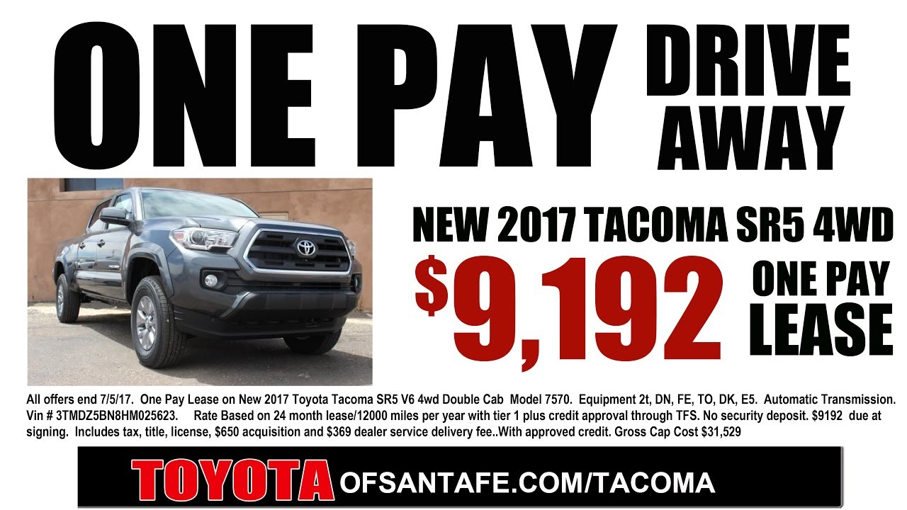 One Pay Tacoma Lease For $9192 At Toyota Of Santa Fe | New Mexico Toyota  Dealer