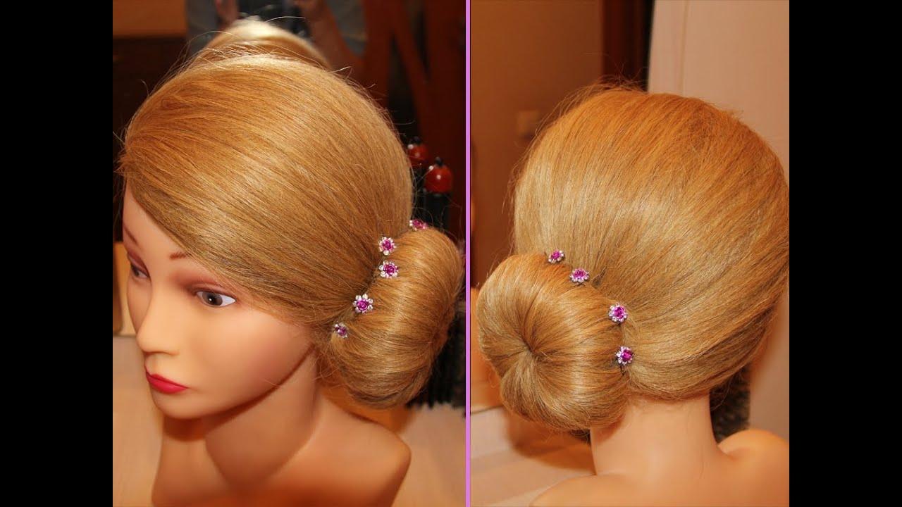 Вечерняя причёска валиком на длинные волосы