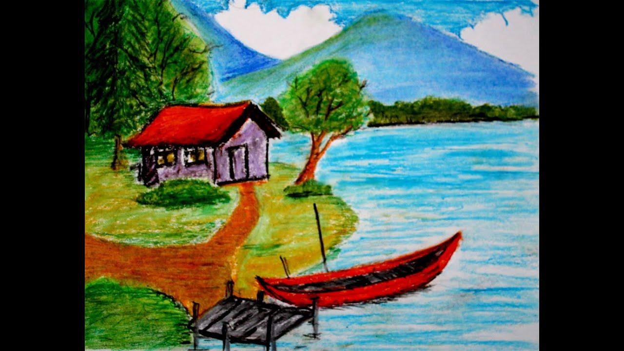 Cara Menggambar Pemandangan Alam Rumah Di Tepi Danau Versi Cepat