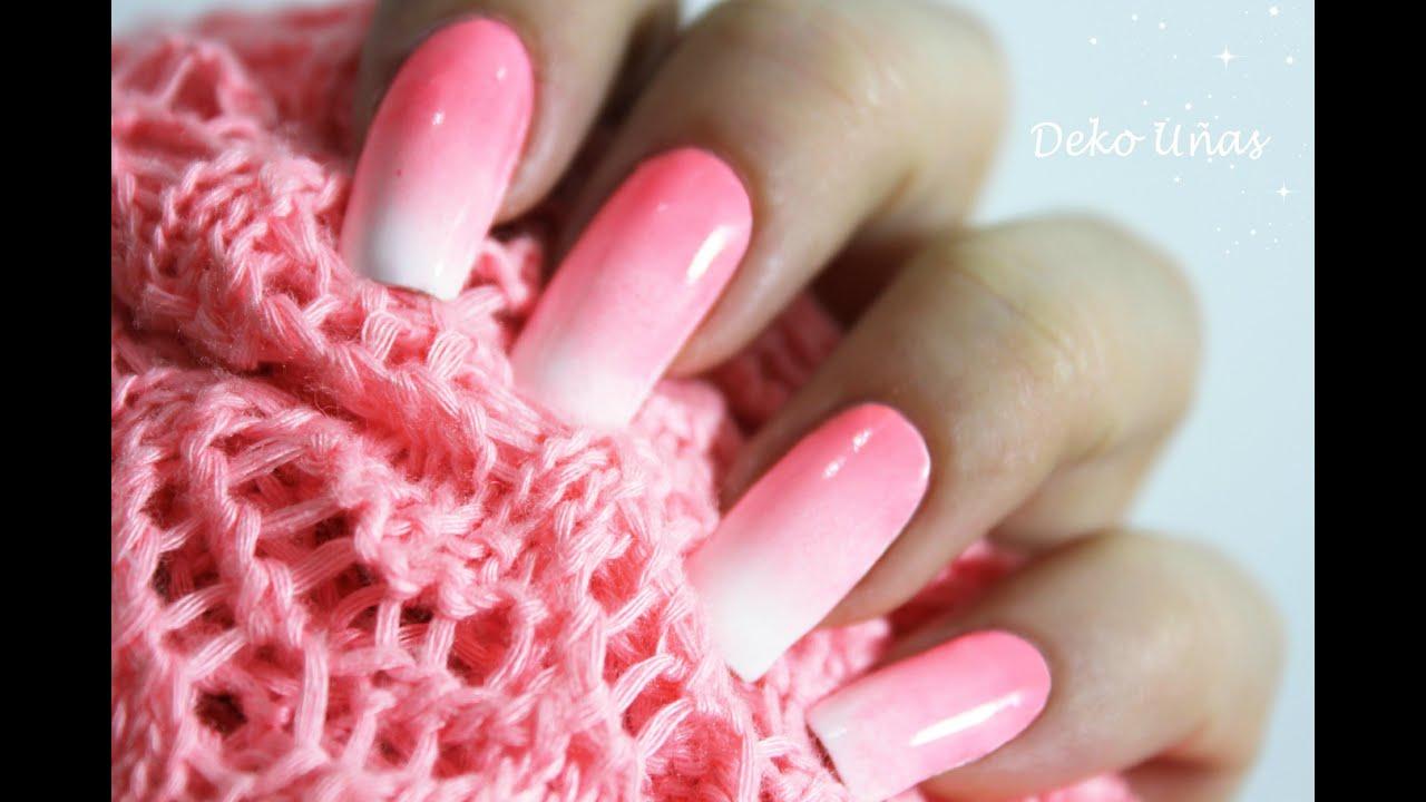 Decoración de uñas degradado con esponja - Ombre nail art - YouTube