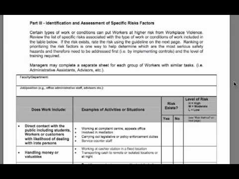 workplace hazard assessment template - risk assessment tutorial for managers workplace violence