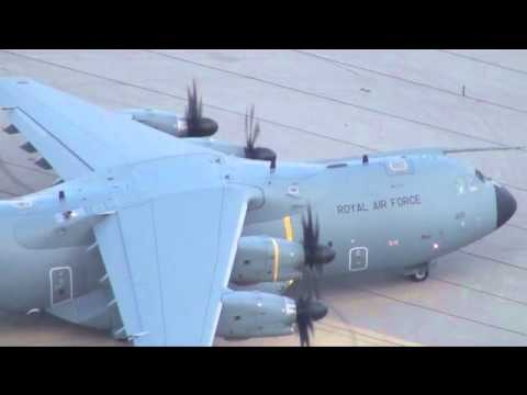 Royal Air Force Airbus A400M Atlas (ZM400) engines startup, Back Track and Take Off Gibraltar LXGB