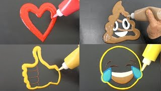 Emoji Heart, Poop, Thumbs Up, Smiling Tears, Pancake Art | Coloring for Kids