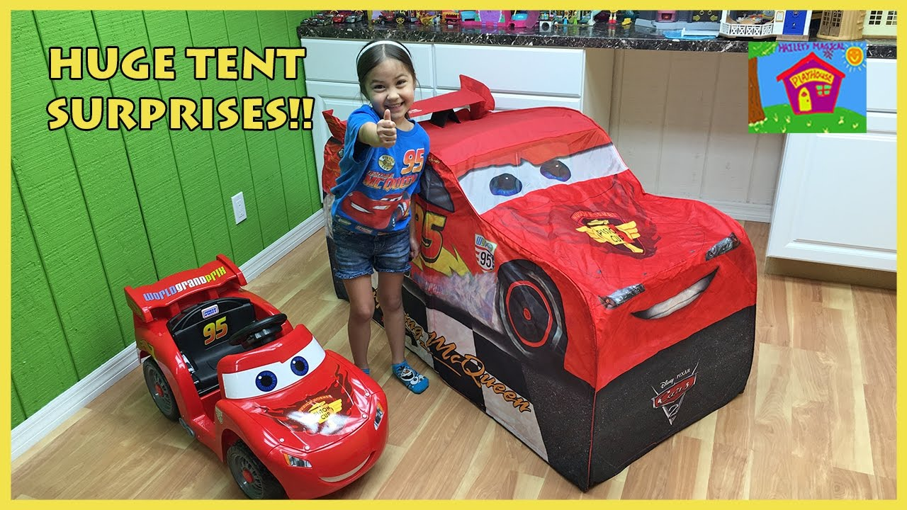 Big Lightning McQueen Surprise Toys Tent with Disney Pixar Cars Die-Cast Toys Review Kids Video - YouTube  sc 1 st  YouTube & Big Lightning McQueen Surprise Toys Tent with Disney Pixar Cars ...