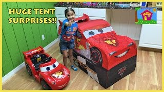 Big Lightning McQueen Surprise Toys Tent with Disney Cars Toys!