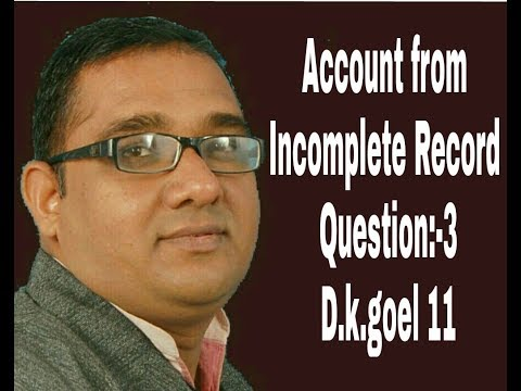 Account from Incomplete records ,Qué :-3, Chapter 22 ,D.k.Goel 11 class by Score90Plus