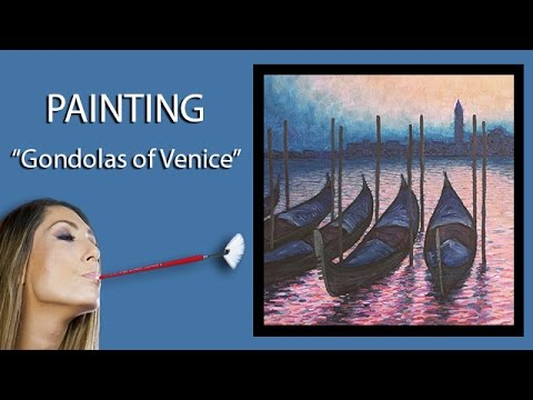 Painting Gondolas of Venice | Demo in Oil | Mouth Painting