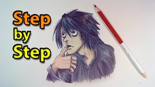 How To Draw L from Death Note | Easy Step by Step