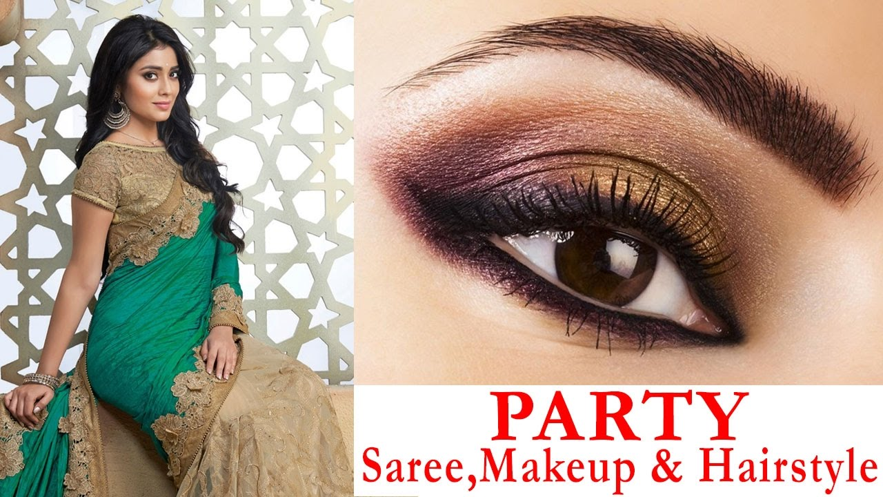 Party Style Saree Draping With Party Hairstyle And Makeup   Makeup U0026 Hair Tutorial Step By Step ...
