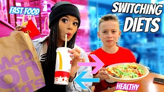 I Swapped DIETS with my Little BROTHER for 24 HOURS! | Krazyrayray
