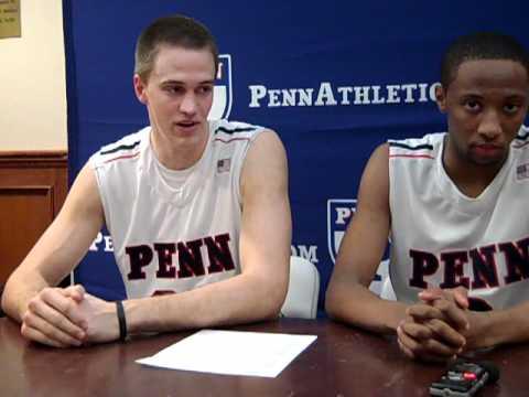 Penn basketball press conference after beating Davidson