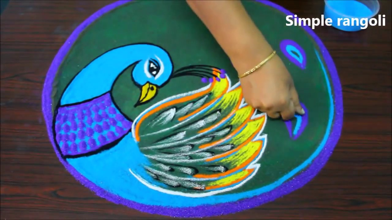 Very Very Simple Peacock Rangoli for Navarathi and Diwali  - How to draw peacock kolam step by step #1