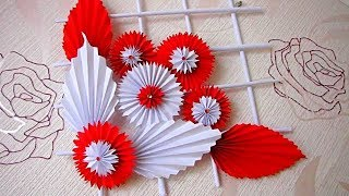 DIY. Simple Home Decor. Wall Decoration. Hanging Flower. Paper Craft Ideas. d3