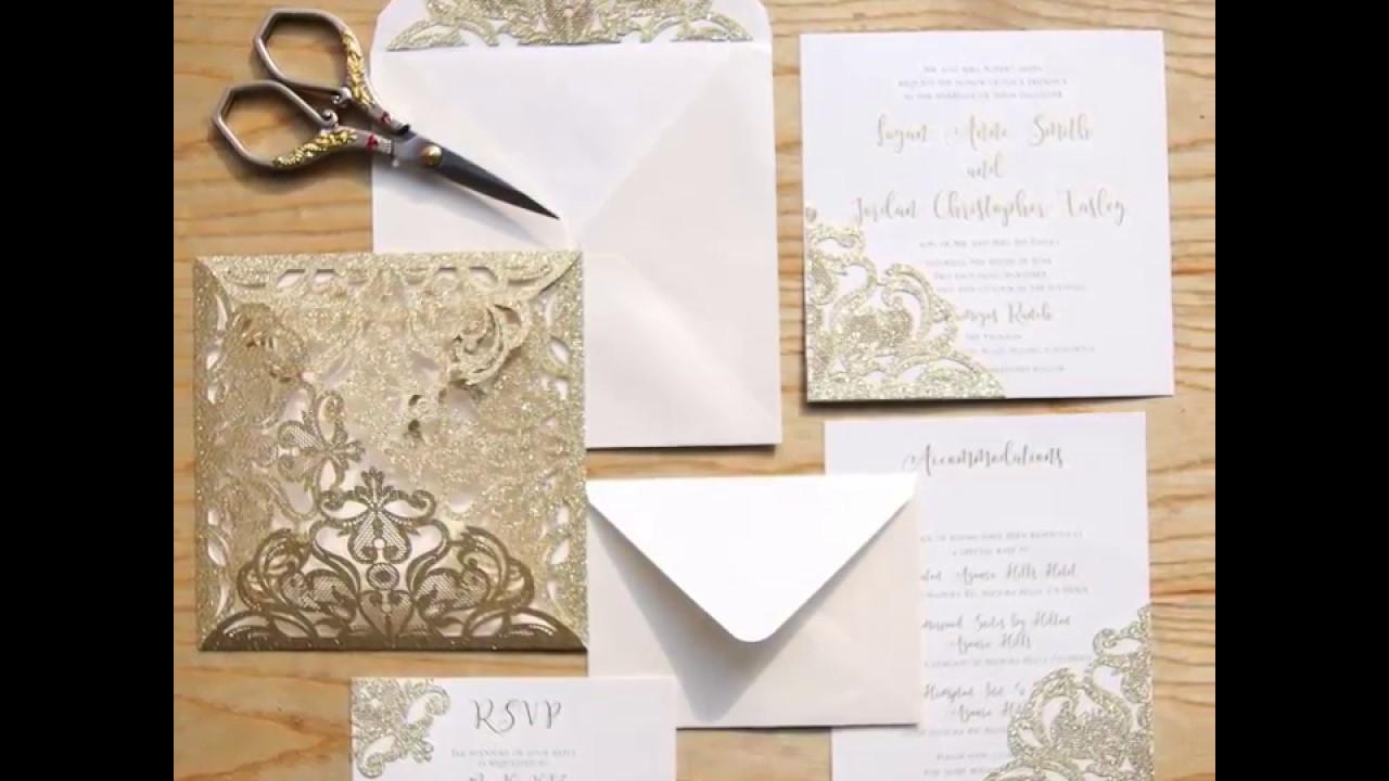 Adding Glitter backer to a wedding invitation card - YouTube