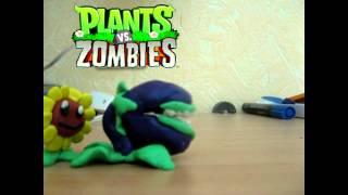 Мультик Растения против зомби из пластилина