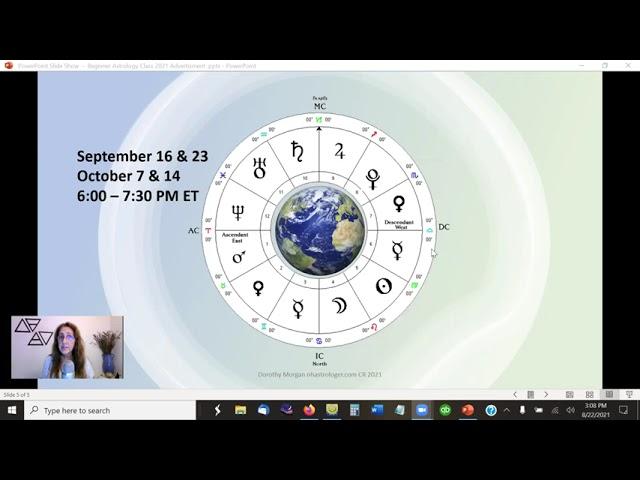 NEW BEGINNER ASTROLOGY CLASS STARTS September 16 2021
