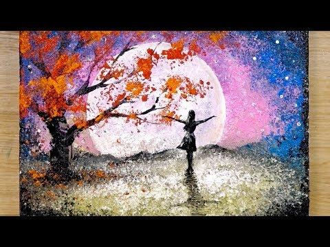 Teknik melukis aluminium / Cara menggambar seorang gadis melihat bulan purnama