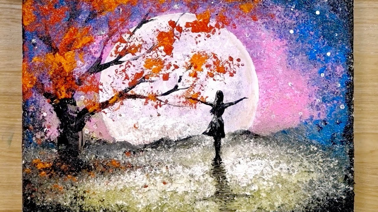 Aluminum Painting Techniques How To Draw A Girl Looking At The Full Moon Youtube