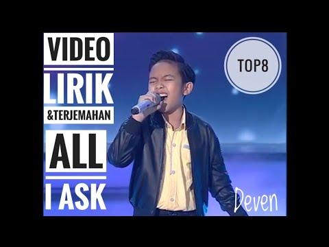 DEVEN ALL I ASK Indonesian Idol Junior 2018 Top8 Video Lirik &  Terjemahan