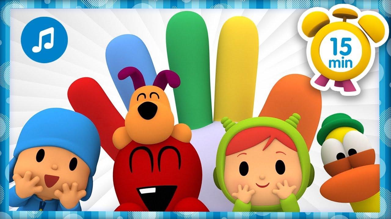 💙 La Familia Dedo de colores + Otras Canciones Infantiles [ 15 min ] | Música para Niños | Pocoyó